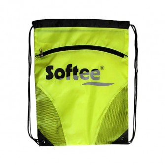 GYMSACK SOFTEE CON RED Y BOLSILLO COLOR AMARILLO FLUOR/NEGRO TALLA UNICA